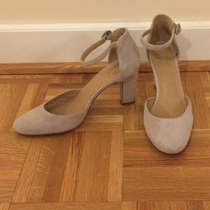 Gray suede Naturalizer pumps with ankle strap